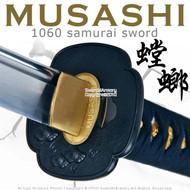 Handmade Musashi 1060 Katana Samurai Sword Mantis Black