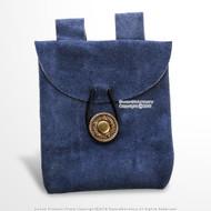 Blue MedievalGenuine Suede Leather Belt Pouch Satchel Bag Renaissance Costume
