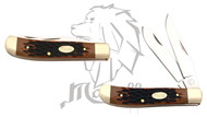 "Mastiff Imitation 6 "" Bone Handle Double Blade Stainless Steel Pocket Knife"