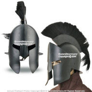 Wearable Steel Greek Spartan King Crested Helmet in Black Finish LARP with Liner