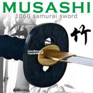 Handmade Musashi 1060 Katana Samurai Sword Bamboo Black