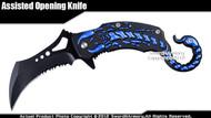 Blue Scorpion Fantasy Spring Assisted Open Knife Pocket Folder Serrated Blade