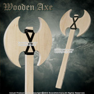 "20.5 "" Wooden Battle Axe Plywood Design for Medieval Fair Cosplay Reenactment"