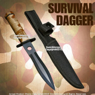 Desert Camo Fixed Blade Survival Knife Dagger with Survival Kit and Compass