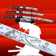4 PCS White Classic Dragon Japanese Samurai Sword Set