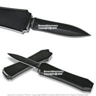 "Mini OTF Pocket Knife Letter Opener 1.98"" Blade with Black Handle"
