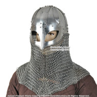 Functional Battle Ready Viking Spectacle Helmet With Chainmail Aventail 16G Steel SCA LARP