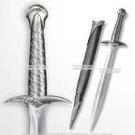 "21.75"" Fantasy Elven Halfling Medieval Short Sword Blade Dagger Black Sheath"