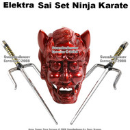 "Set Of Two 19"" Octagon Sai Set Ninja Karate With Red Holder"