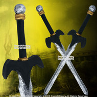 Set of 2 Foam Padded Bat Wing Short Swords LARP