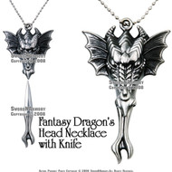 "Fantasy Dragon's Head Necklace with Knife & 30"" Chain"