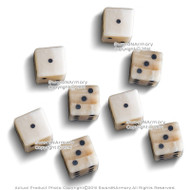 8 Pcs Genuine White Bone Gambling Handmade Roman Dice Inlaid Pips Casino Game