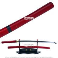 Musha Red Shirasaya Samurai Katana Sword 1045 Steel Sharp Blade