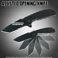 Spring Assisted Open Pocket Folding Knife Half Serrated Tanto Blade