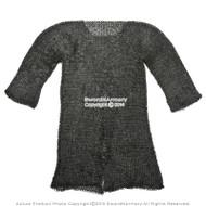 Black Medium Size Hauberk Round Ring Riveted Medieval Chainmail Shirt SCA LARP