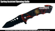 Red Camo Fire Fighter Emblem Assisted Opening Rescue Knife with Belt Cutter