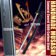 Musashi Handmade Samurai Sword Katana 1060 Differential Harden Steel Wheel Tsuba
