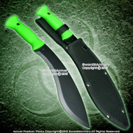 "16"" Zombie Hunter Machete Fixed Blade Khukri Survival Knife Green Handle w/ Sheath"