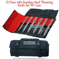 "12 Pcs 9"" 440 Stainless Steel Throwing Knife Set With Case 1"