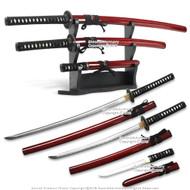 Musashi Last Samurai Katana Sword Set Katana Wakizashi Tanto and Display Stand  Red