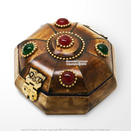 Handmade Bejeweled Cow Bone Jewelry Box with Brass Fittings and Velvet Lining