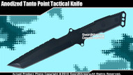 Fixed Blade Anodized Tanto Military Combat Tactical Knife