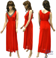Dress Long Beaded Solid Color (80014,Red)