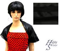 Satin Stripe Scarf Square Solid Color Black