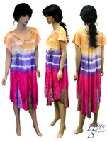 Tie Dye Dress Embroidered (66952-Blue)