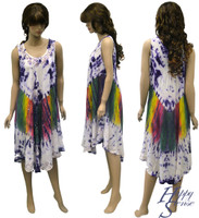 Tie Dye Dress Embroidered (67319-Purple)