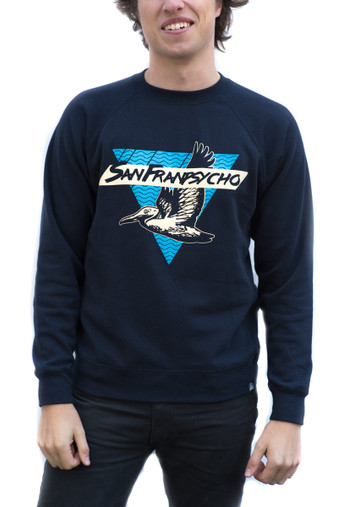 Stay fly in our newest ultra soft crewneck! Hand printed right here in the Outer Sunset district of San Francisco!