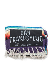 San Franpsycho Script Black. Purple Striped Picnic Blanket