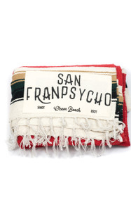 San Franpsycho Script. Red, Brown & Green Striped Picnic Blanket