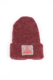 Maroon Mohair Beanie with Grey and Red Logo Patch