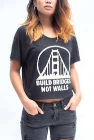 Build Bridges Not Walls Cropped Tee