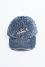 Denim Dad Hat with Pink Script