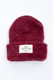 Burgundy Mohair Beanie with White Ocean Beach Script
