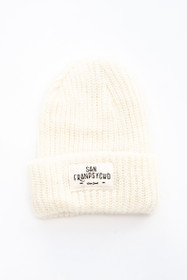 Cream Mohair Beanie with White Ocean Beach Script