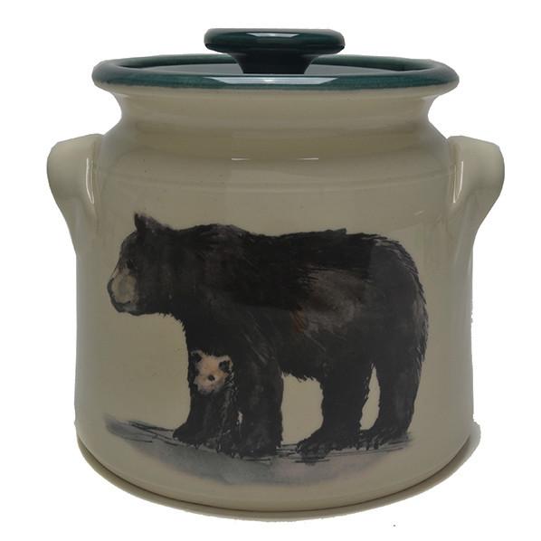 Bean Pot 2 Qt Black Bear Great Bay Pottery