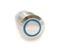 16 mm, sealed, anti vandal, push button, latching, blue, illuminated, 110 volt