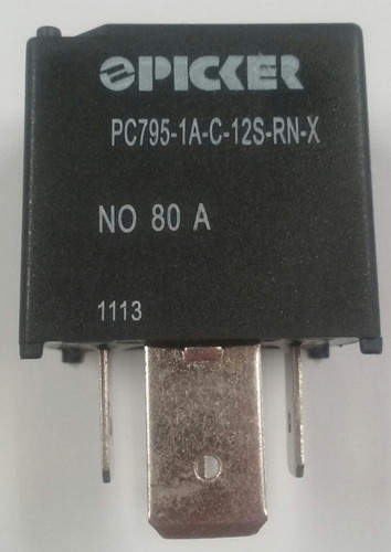 sealed automotive relay, 80 amps, internal resistor, 12 volt coil, pc795-1a-c-12s-rn-x