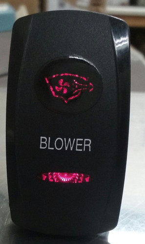 Blower switch cover, rocker switch, blower legend, black, 2 red lenses, Carling