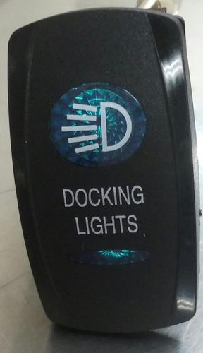 Docking Lights Switch Cover, Black with 1 Blue Oval Lens, 1 Blue Bar Lens, Carling, rocker switch actuator