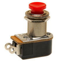 push button switch, momentary off, on, solder terminals, red button