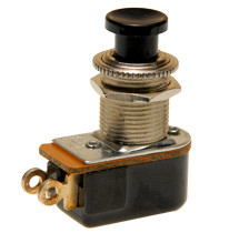 push button switch, momentary off, on, solder terminals, black button, Carling, P27L-BL