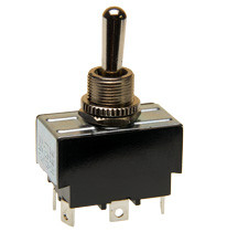 Double pole toggle switch, on-off-on, solder terminals
