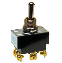 toggle switch, double pole, on - off - momentary on, screw terminals