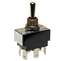 toggle switch, double pole, on - off - momentary on, quick connect terminals