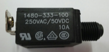 mechanical products 10 amp push to reset circuit breaker, black button, screw terminals, 1480-333-100
