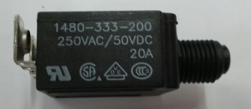 mechanical products 20 amp push to reset circuit breaker, black button, screw terminals, 1480-333-200